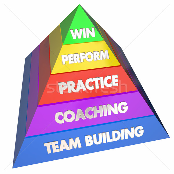 Team Building Coaching Practice Performance Win Pyramid 3d Illus Stock photo © iqoncept