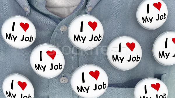 I Love My Job Buttons Pins Working Career Pins 3d Illustration Stock photo © iqoncept