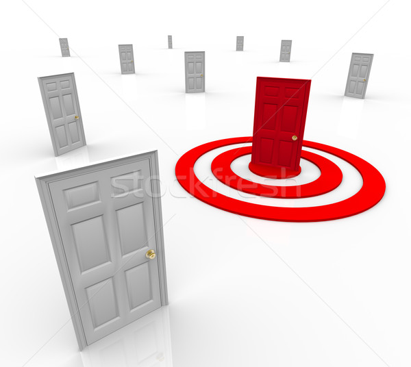 Stock photo: One Targeted Door Address in Bulls-Eye Target Marketing