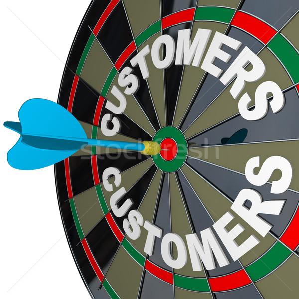 Stock photo: Dart in Bulls-Eye Target Customers Word  on Dartboard