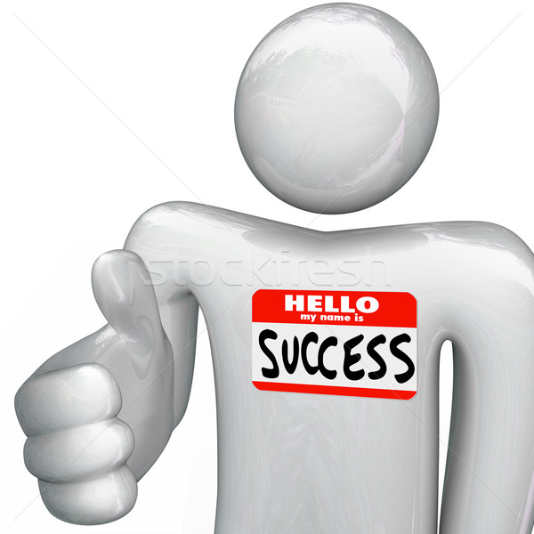 Hello My Name is Success Nametag Person Handshake Stock photo © iqoncept