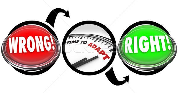 Direito errado botão luzes tempo relógio Foto stock © iqoncept