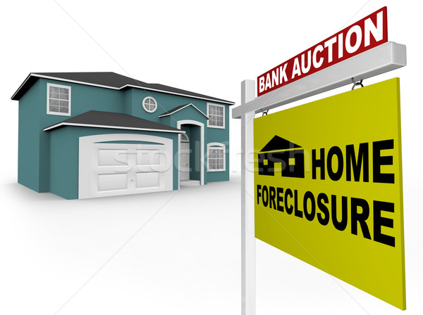 Home Foreclosure Sign in Front of House Stock photo © iqoncept