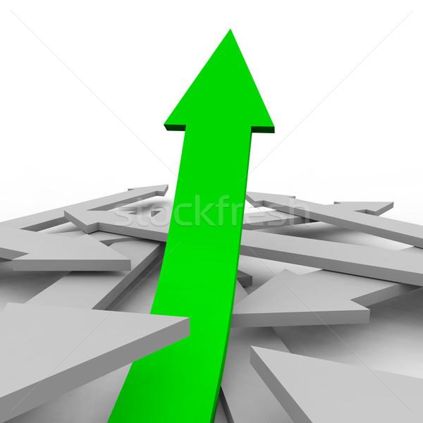 Egy nyíl zöld csoport szürke nyilak Stock fotó © iqoncept
