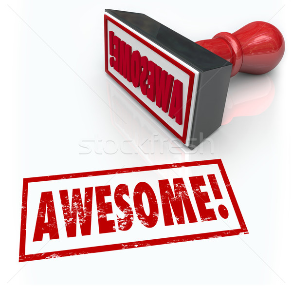 Awesome Word Rubber Stamp 3D Rating Review Feedback Stock photo © iqoncept