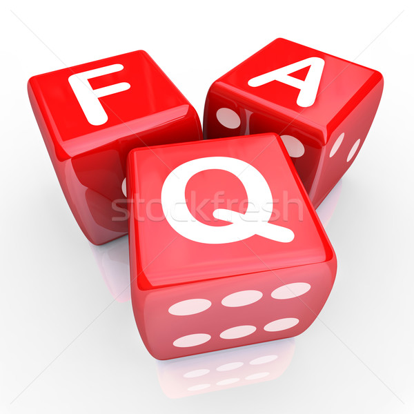 FAQ Frequently Asked Questions 3 Red Dice Stock photo © iqoncept