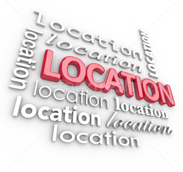 Stock photo: Location 3d Word Backgound Good Desirable Area Place