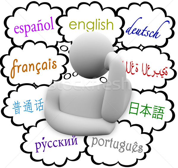 Languages Thought Clouds English Spanish German French Stock photo © iqoncept