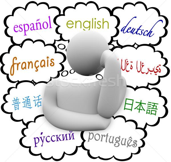 Talen dacht wolken Engels spaans frans Stockfoto © iqoncept