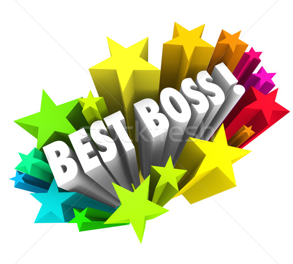 Best Boss Words Stars Celebrate Top Leader Manager Employer Exec Stock photo © iqoncept