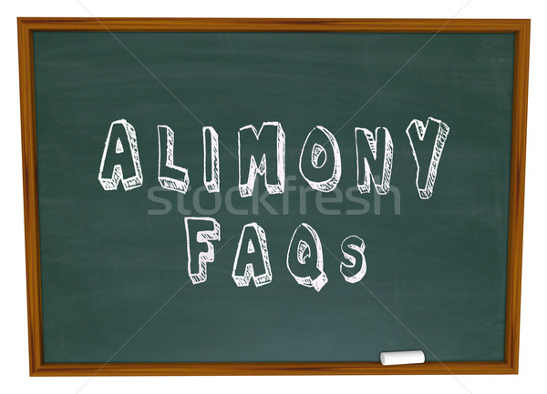 Alimony FAQs Frequently Asked Legal Questions Chalkboard Stock photo © iqoncept
