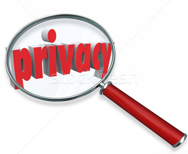 Privacy Word Magnifying Glass Private Sensitive Information Prot Stock photo © iqoncept