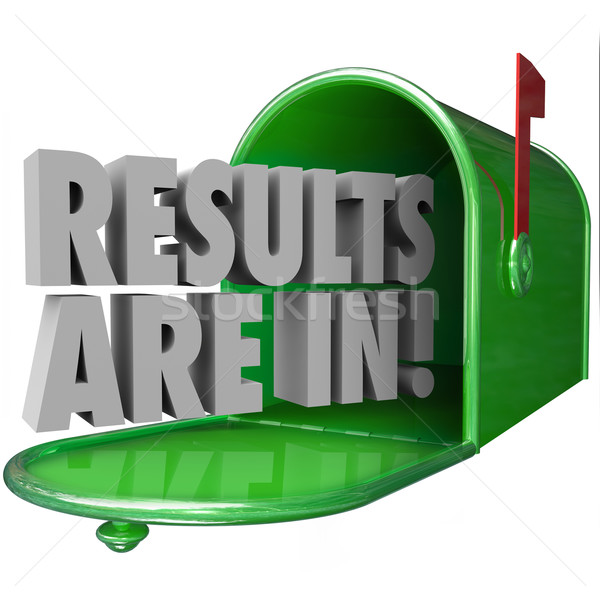 Results Are In Green Metal Mailbox 3d Words Stock photo © iqoncept