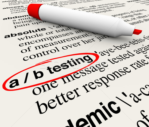 A/B Testing Words Dictionary Definition Experiment Message Perfo Stock photo © iqoncept