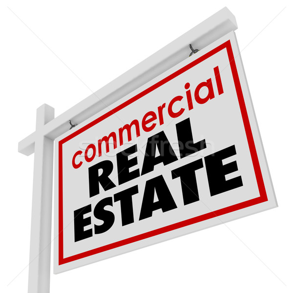 Commercial Real Estate Sign Building Office Business for Sale Stock photo © iqoncept