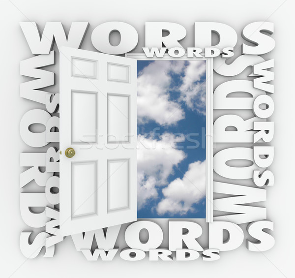 Words Open Door Bright Future Choose Right Language Writing Best Stock photo © iqoncept