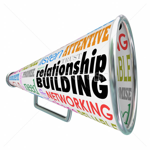 Relationship Building Megaphone Bullhorn Strengthen Friendship B Stock photo © iqoncept