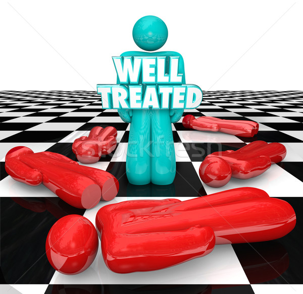 Well Treated Chess Person Standing Over People No Treatment Help Stock photo © iqoncept