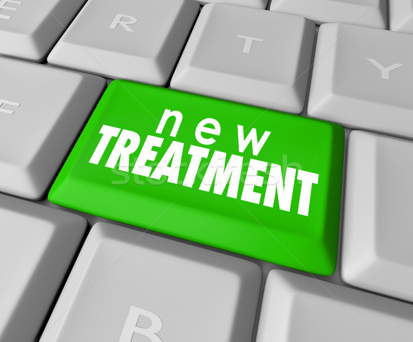 Nuevos tratamiento botón innovador ayudar Foto stock © iqoncept