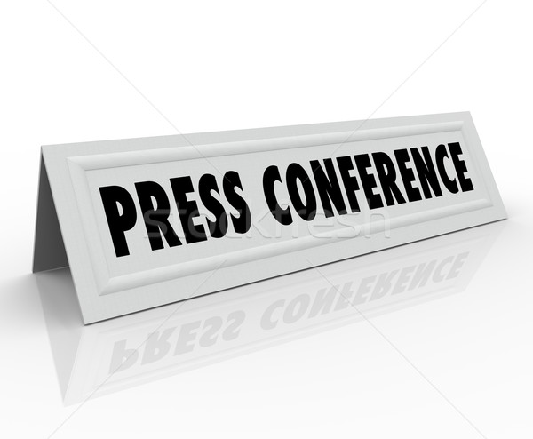 Press Conference Name Tent Card Guest Speaker Stock photo © iqoncept