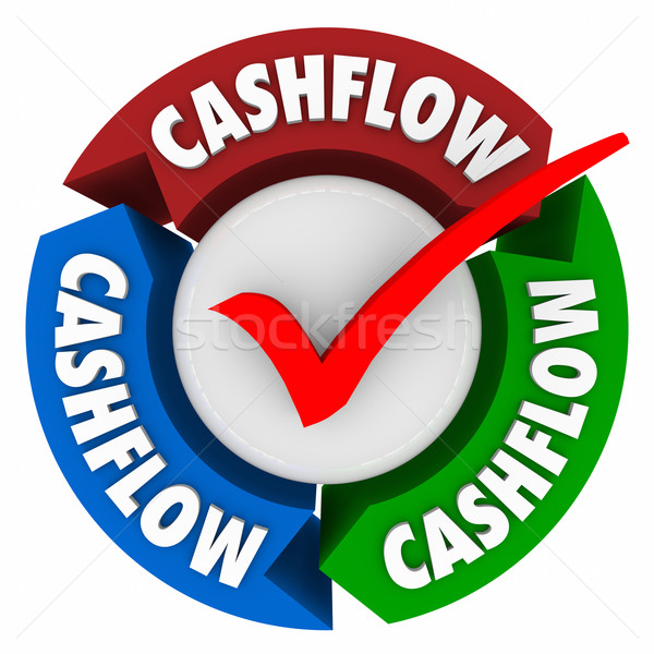 Stock photo: Cashflow Word Arrows Check Mark Earning Money Income Revenue