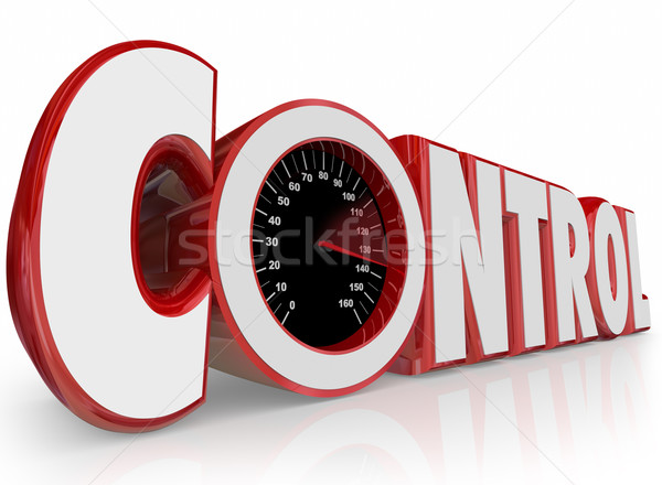 Control 3d Word Speedometer Influence Power Force Dictate Outcom Stock photo © iqoncept