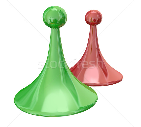 Green Red Two Game Pieces Compete Tie Share Winning  Stock photo © iqoncept