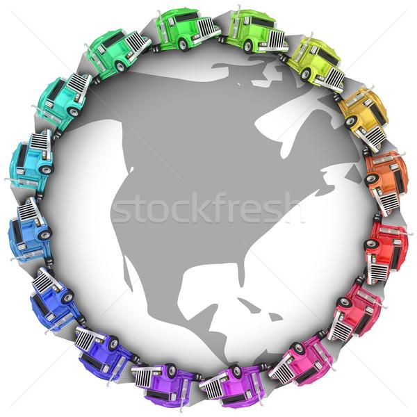 грузовиков вождения вокруг земле север Америки Сток-фото © iqoncept