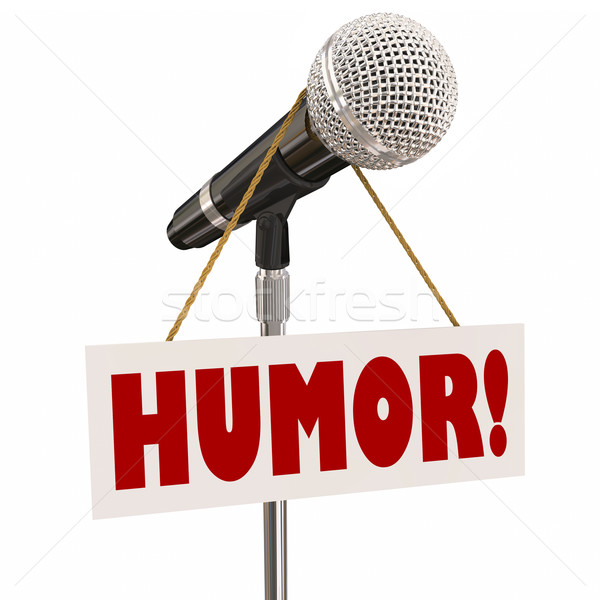 Humor Sign on Microphone Stand-Up Comedy Stock photo © iqoncept