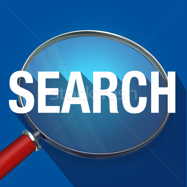 Search Magnifying Glass Long Shadow Word Find Information Resear Stock photo © iqoncept