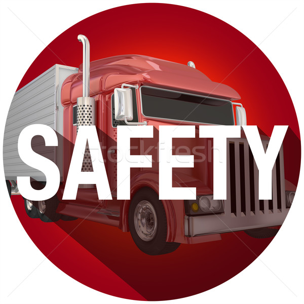 Safety Word Long Shadow Truck Driving Security Circle Stock photo © iqoncept