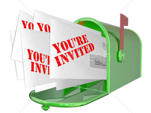 Youre Invited Envelopes Messages Mailbox Words Stock photo © iqoncept