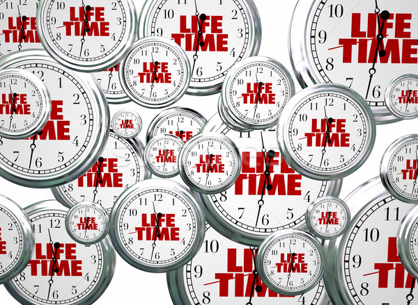 Lifetime Span Live Expectancy Clocks Flying 3d Illustration Stock photo © iqoncept