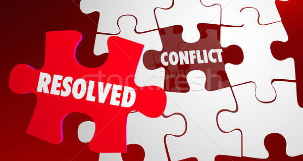 Conflict Resolved Fight Resolution Puzzle Piece 3d Illustration Stock photo © iqoncept