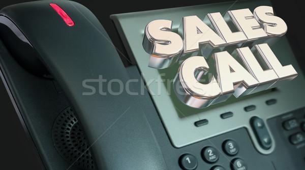 Stockfoto: Verkoop · oproep · verkopen · telefoon · woorden · 3d · illustration