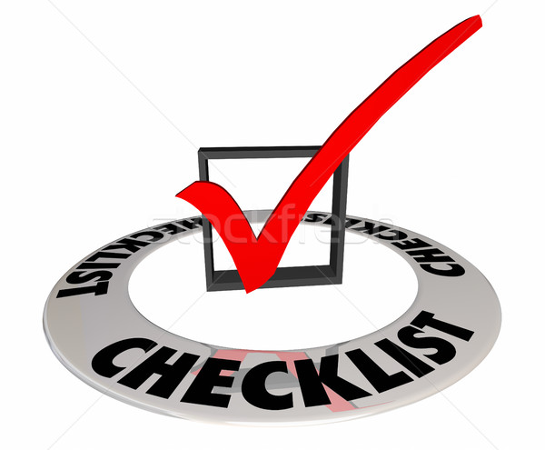 Checklist Box Mark Finished Complete Word 3d Illustration Stock photo © iqoncept