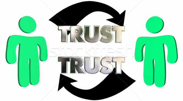 Mutual Trust Confidence People Partner Arrows 3d Illustration Stock photo © iqoncept