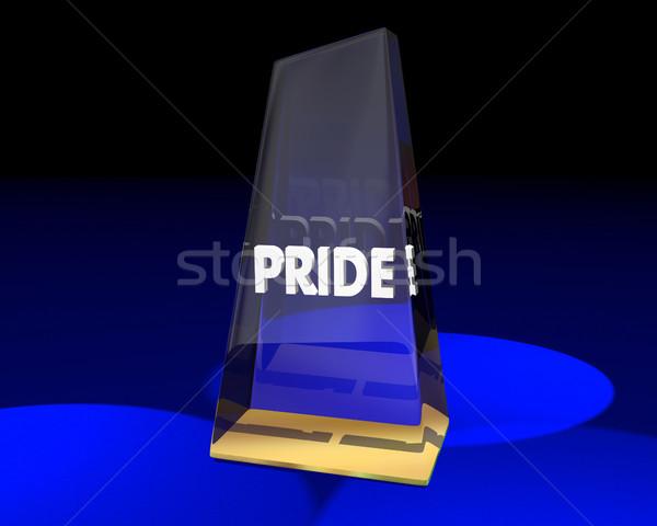 Duma nagrody trofeum zwycięzca dumny uczucia Zdjęcia stock © iqoncept