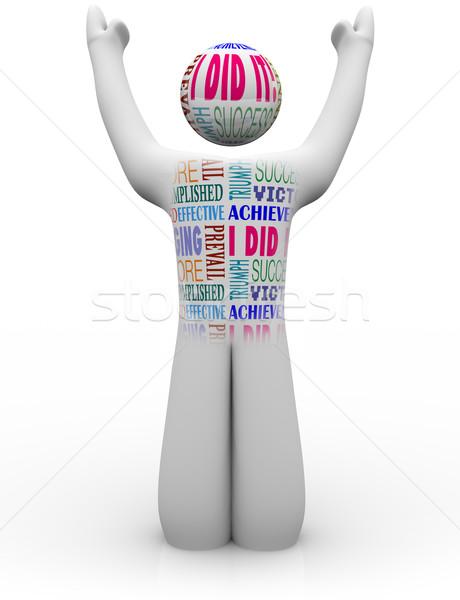 éljenez személy siker szavak büszke teljesítmény Stock fotó © iqoncept