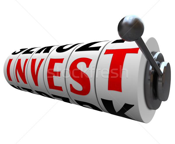 Invest Word Slot Machine Wheels - Risky Investment Stock photo © iqoncept