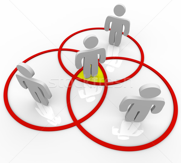 Venn Diagram People in Overlapping Circles Connections Stock photo © iqoncept