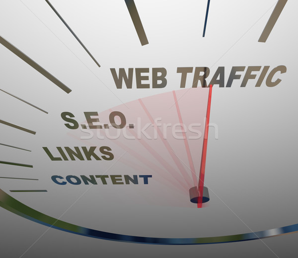 Web Traffic SEO Links Speedometer Online Growth Stock photo © iqoncept