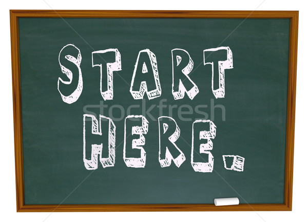Start Here Words Chalkboard Begin Instruction Learning Stock photo © iqoncept