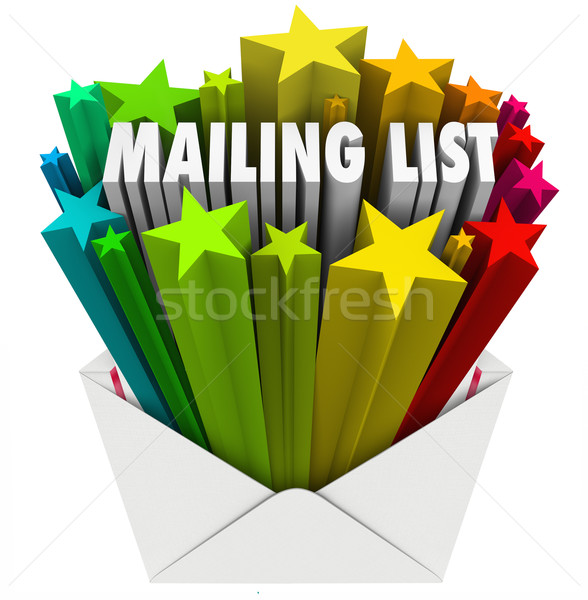 Mailing List Words in Star Envelope Stock photo © iqoncept