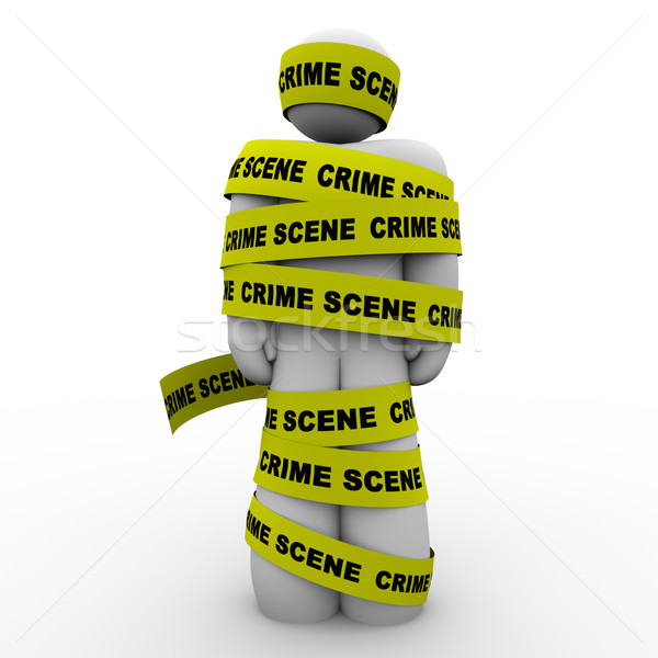 Crime Scene Yellow Tape Suspect Wrapped Detained Arrested Stock photo © iqoncept