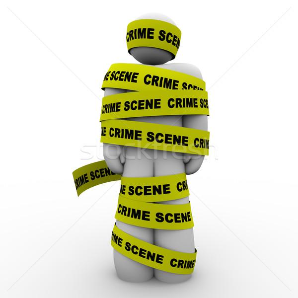 Cena do crime amarelo fita preso em torno de homem Foto stock © iqoncept