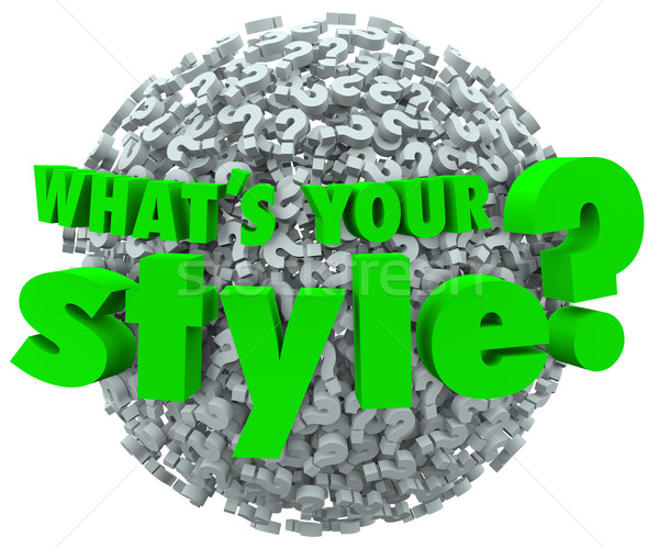 Whats Your Style Question Mark Unique Look Skills Fashion Stock photo © iqoncept