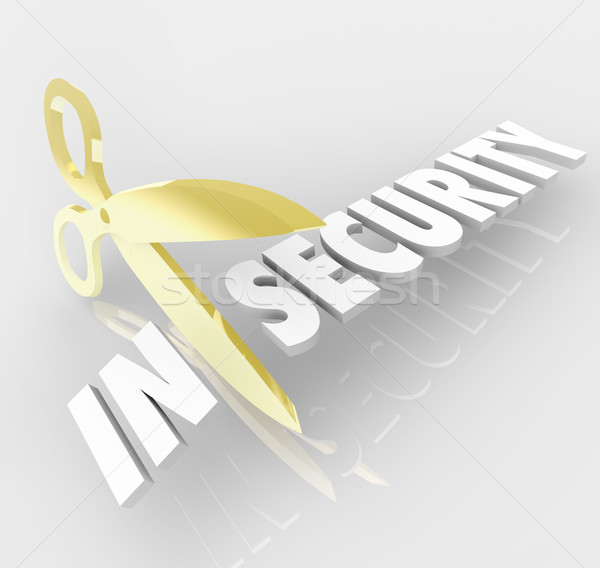 Insecurity Word Scissors Cutting Secure Safety Protection Stock photo © iqoncept