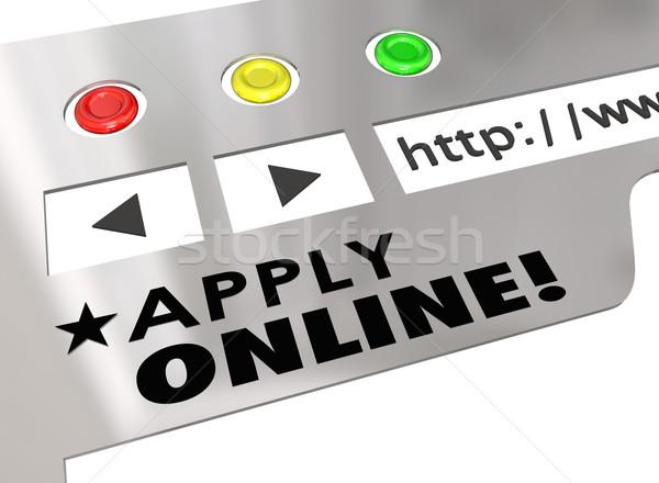 çevrimiçi web sitesi Internet tarayıcı uygulama form Stok fotoğraf © iqoncept