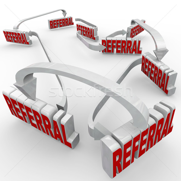 Stock photo: Referrals 3d Words Connected Arrows New Customers Word of Mouth